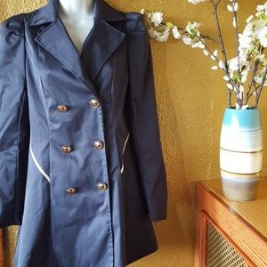Lined navy blue jacket with gold piping